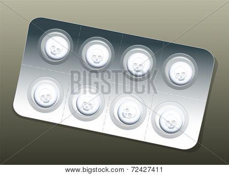 Pills Blister White Skulls