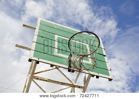 A Basketball Basket On Weathered Green Wooden Facade. Basketball Hoop.