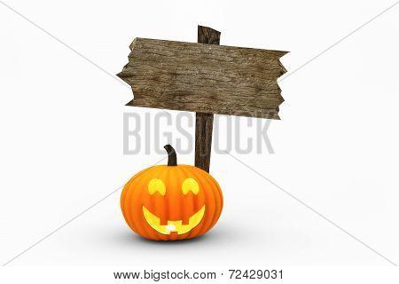 Jack O'Lantern & Wooden Sign