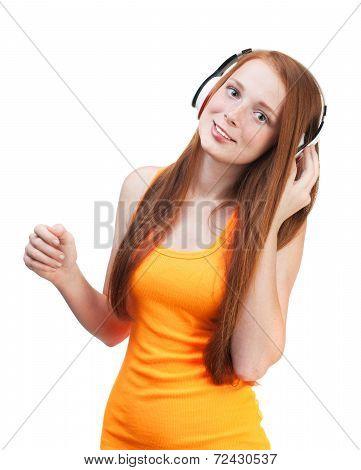 Girl Listening  Music On Headphones. Isolated On White Background