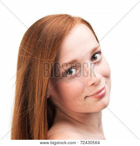 Young Girl With Red Hair Isolated On White Background