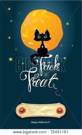 Halloween Night: Cat On Moon And Sky Background. Card With Calligraphic Text Happy Halloween And Tri