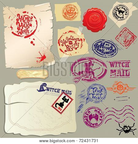 Collection Of Holiday Mail Design Elements - Postmarks And Papers - Halloween Postage Set.