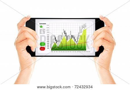 Hands Holding Mobile Phone With Stock Market Chart Isolated Over White