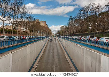 The prospect of the street with a descent into the tunnel in Madrid