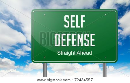 Self Defense on Highway Signpost.