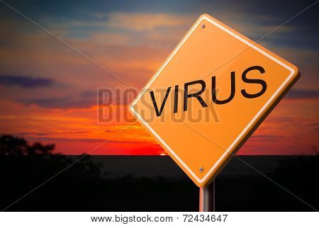 Virus on Warning Road Sign.