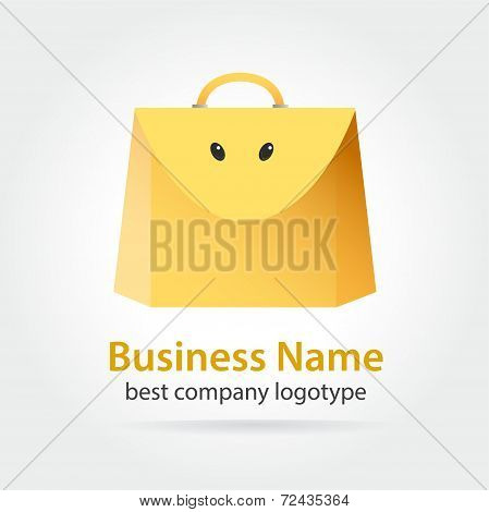 Funny yellow colored vector bag icon
