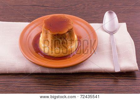 Creme Caramel Vanilla Custard Dessert Or Flan On Dish
