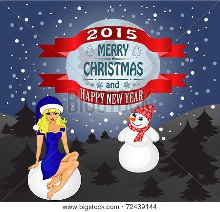 Merry Christmas Greeting Card Landscape With Snow Maiden And Snowman. Vector