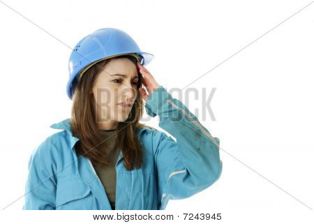 Young Female Worker Having A Headache