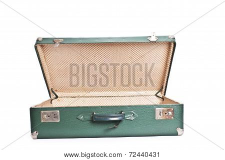 green old suitcase isolated on white