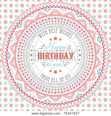 Funny cute happy birthday card. Typography letters font type