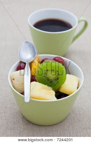 Healthy Breakfast Of Fruit Salad And Coffee