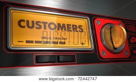 Customers in Display on Vending Machine.