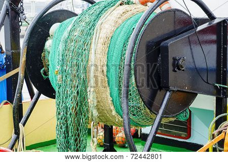 Fishing Nets On Fishing Trawler