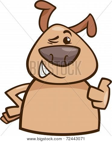 Winking Dog Cartoon Illustration
