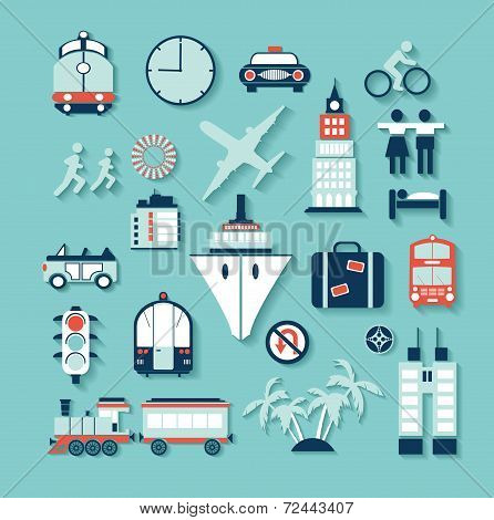Transportation Travel Icon Set