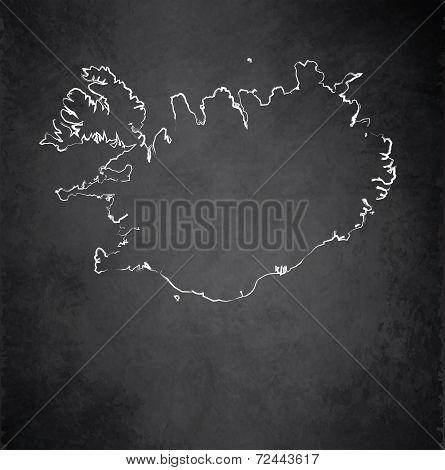 Iceland map blackboard chalkboard raster