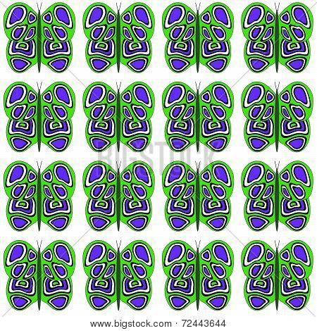 Green-Purple-White Medium Sized Butterfly Pattern