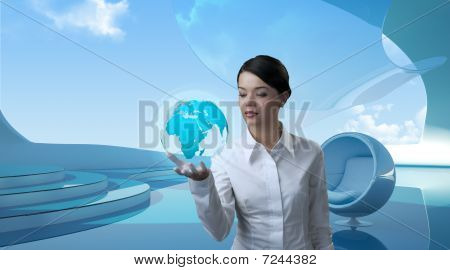 Attractive Brunette With Globe In Future