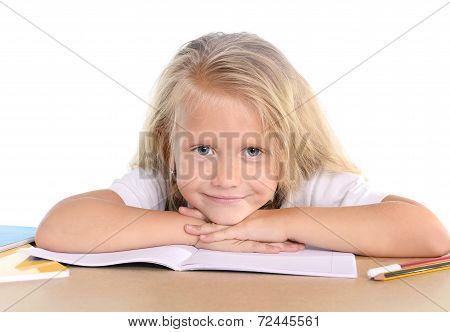 Cute Little School Girl Happy On Desk Leaning In Relax On Book