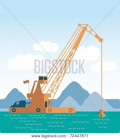 Modern style flat Huge crane barge Industrial ship that digs sand, marine dredging digging sea botto