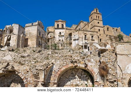 Panoramic view of Craco. Basilicata. Southern Italy.