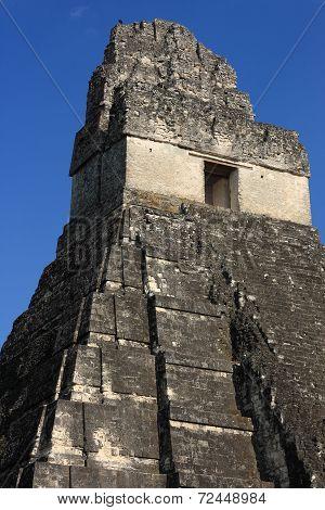 Closeup of Mayan temple ruins, Tikal, Guatemala