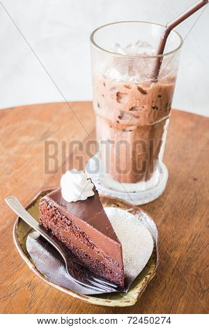 Delicious Chocolate Cake And Iced Drink