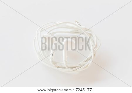 Smartphone Ear Buds Isolated On White Background