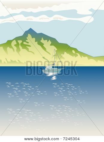 Sailboat on lake with mountain