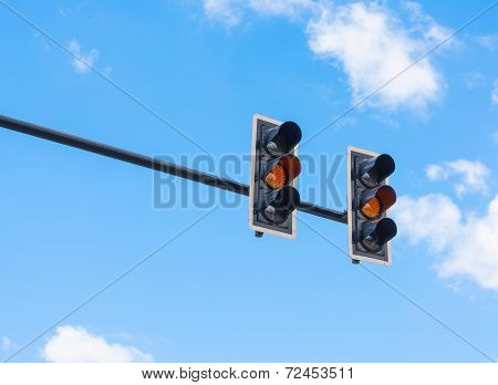 Image Of Traffic Light, The Amber Light Is Lit. Symbolic  For Waiting