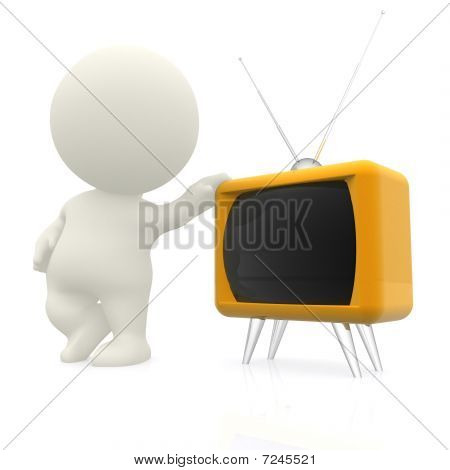 3D Man With Hand On A Tv