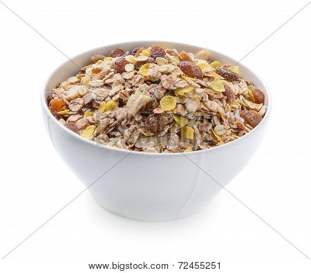 Breakfast - Milk With Chocolate Corn Flakes Cereal In Bowl