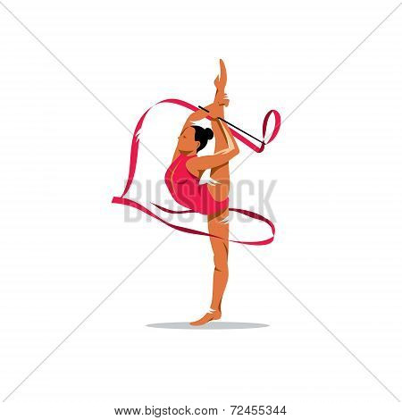 Gymnastics With Ribbon Vector Sign