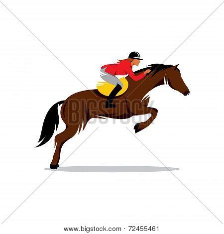 Horse At Jumping Vector Sign