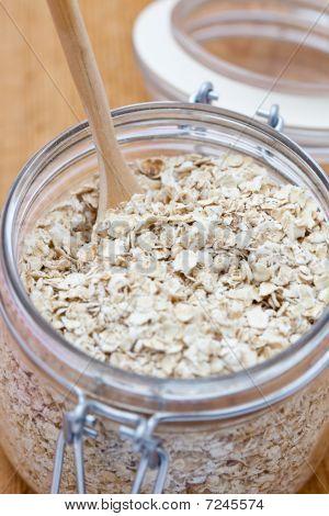 Porridge Oats In A Glass Jar