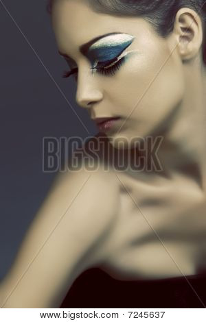 Woman With Turquoise Eye Make-up