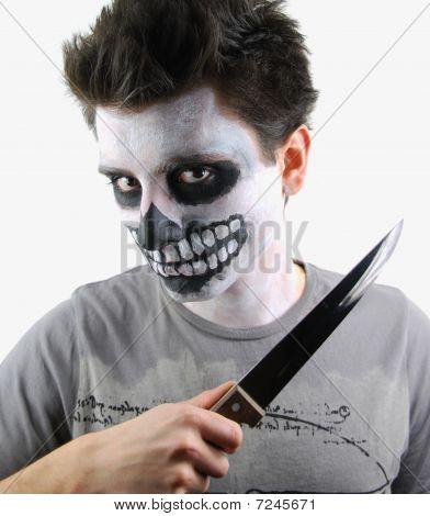 Murderer Skeleton Guy With A Bloody Knife
