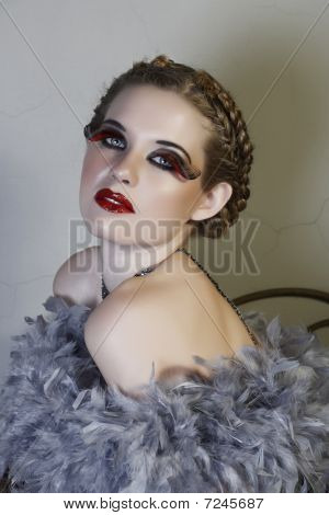 Woman In Feather Boa