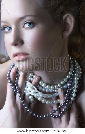 Blond Beauty In Pearls