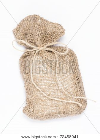 Beige Canvas Bag With A Gift