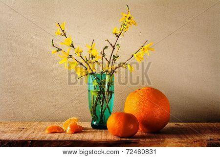 Still Life Spring Bouquet Yellow Forsythia Oranges