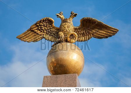 Golden Double Eagle Seat On Sphere, Russian Coat Of Arms
