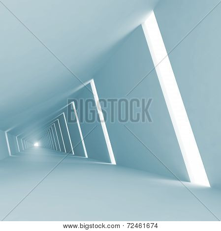Blue Abstract Empty 3D Interior Background With Corridor