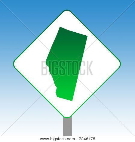 Alberta Map Road Sign
