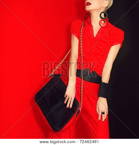 Portrait of a glamorous girl black and red style