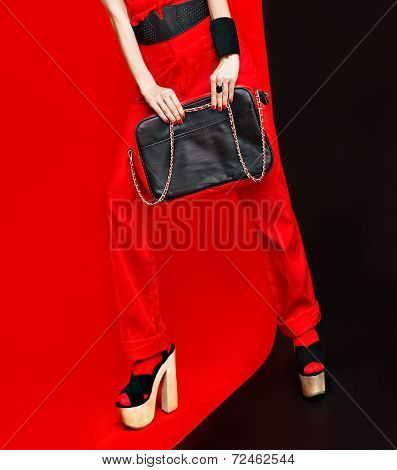 black and red style fashion lady