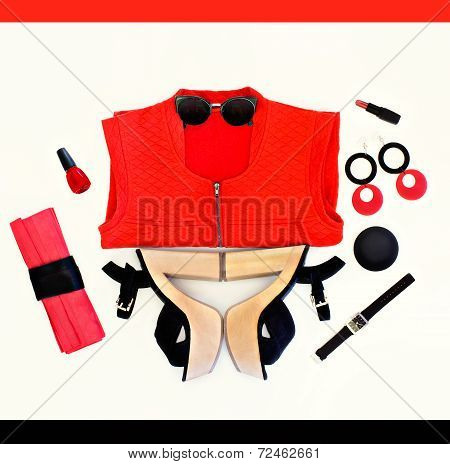 fashion collage of black and red Loock